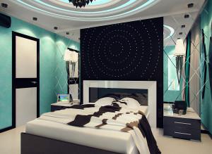 Интерьер спальни фото в бирюзовом цвете