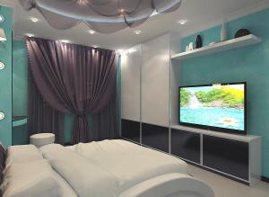 Дизайн интерьера спальни фото в бирюзовых тонах