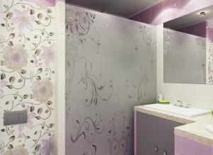 Дизайн санузла в лиловом цвете
