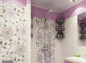 Дизайн интерьера санузла в лиловом цвете