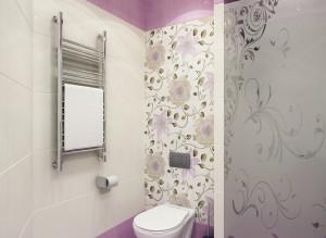 Дизайн стильного санузла в лиловом цвете