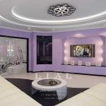 Идеи дизайна стильной гостиной фото в лиловом цвете