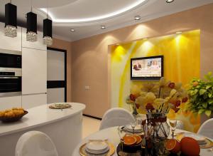 Дизайн ТВ-зоны на кухне в светлых тонах