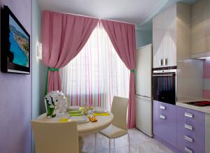 интерьер кухни в лиловых тонах фото