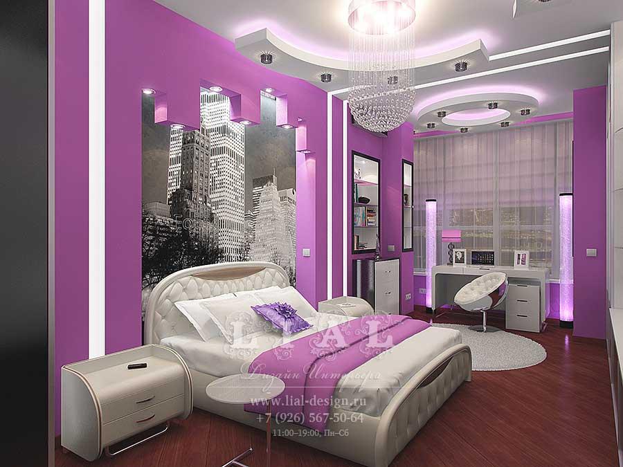 Дизайн сиреневой спальни. Фото