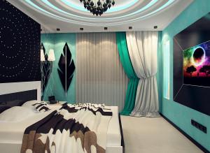 Интерьер спальни в бирюзовых тонах фото