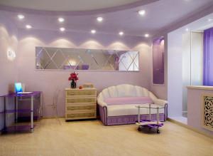 интерьер гостиной в лиловых тонах фото