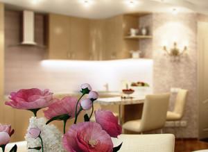 Дизайн стильной гостиной совмещенной с кухней