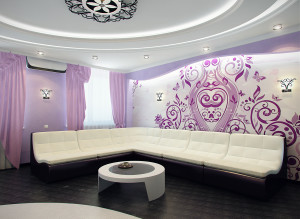 Дизайн современной гостиной фото в лиловых тонах