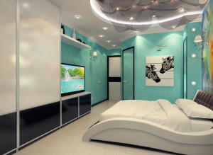 Дизайн стильной спальни фото в бирюзовых тонах