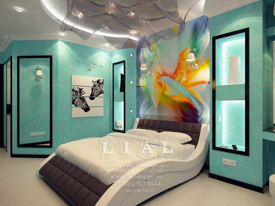 Дизайн спальни фото в бирюзовом цвете