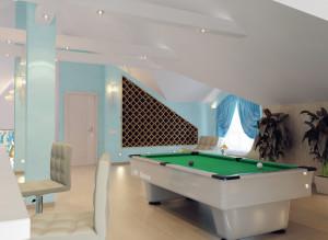 Дизайн стильной мансарды с биллиардным столом