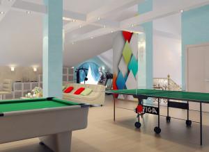 Дизайн мансарды с биллиардным теннисным столом