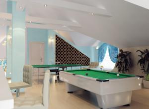 Дизайн интерьера мансарды с биллиардным столом