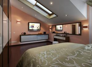Дизайн ТВ-зоны в спальной комнате