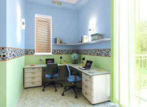 Интерьер рабочего места в детской комнате фото