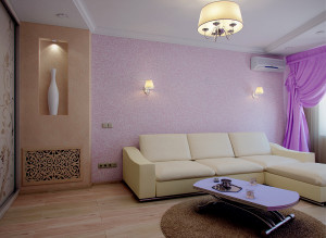 Идеи дизайна стильной гостиной в лиловом цвете фото 2016 современные идеи