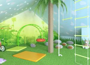 Фото интерьера детской комнаты в зеленых тонах