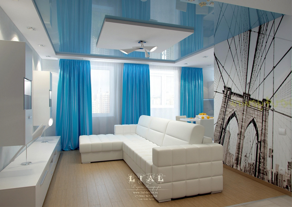Дизайн современной белой гостиной