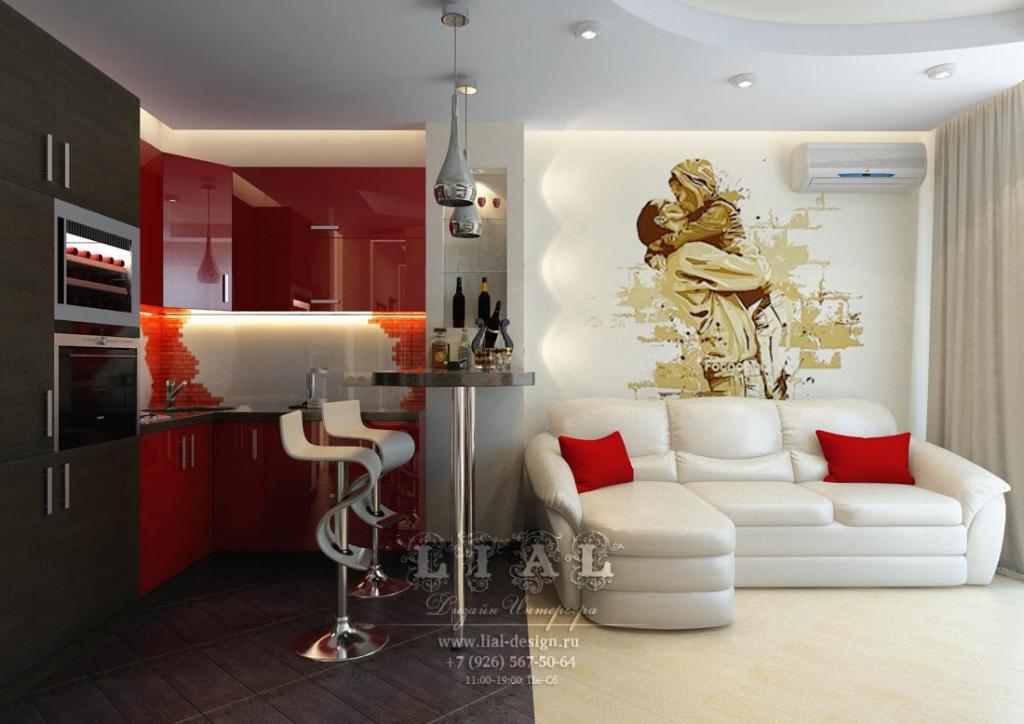 Дизайн кухни-гостиной в квартире: фото 2016