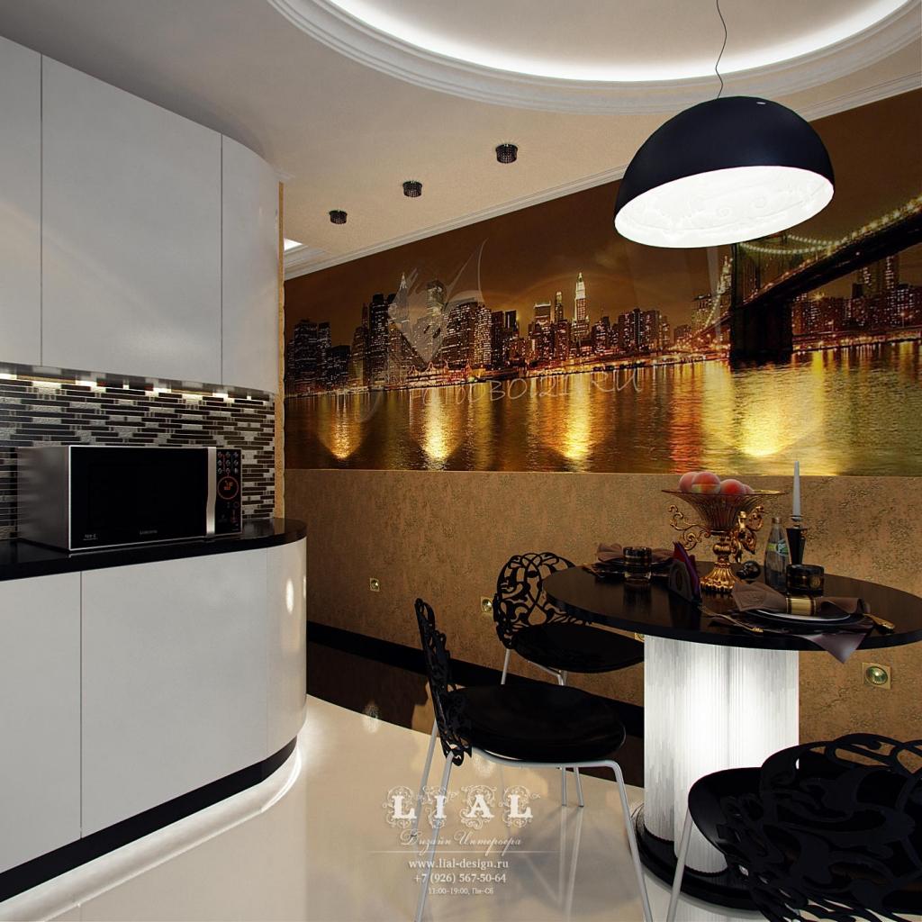 Дизайн кухни в трехкомнатной квартире