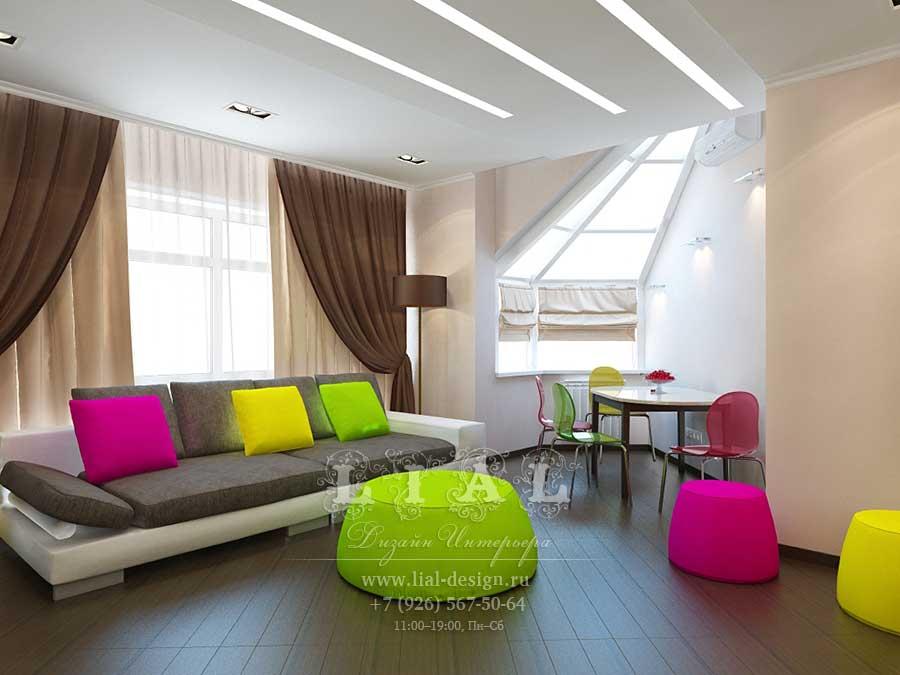 Дизайн яркой гостиной-столовой: фото 2016