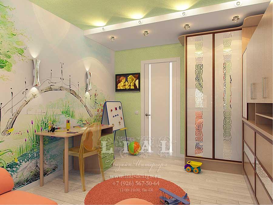Рабочая зона в детской комнате: фото