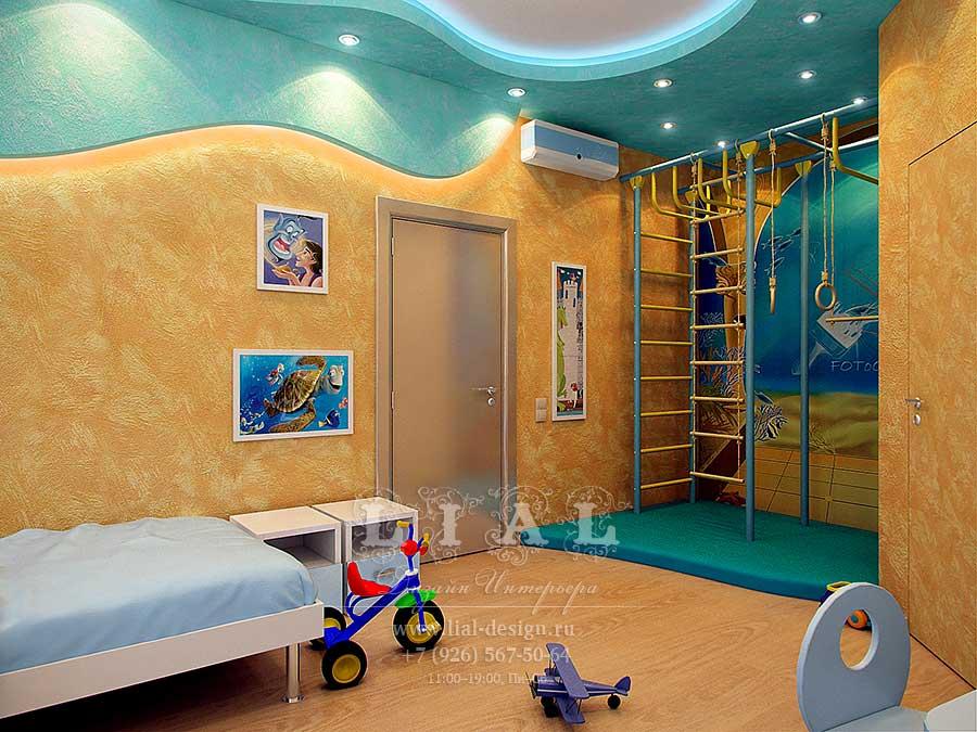 Дизайн детской комнаты с игровой