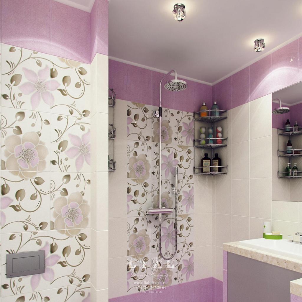 Дизайн ванной комнаты с цветочными мотивами: фото