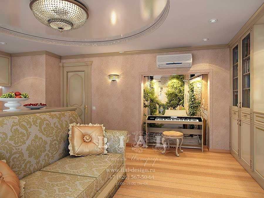 Дизайн бежевой гостиной, совмещенной с кухней