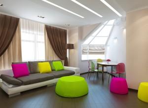 Дизайн гостиной в пентхаусе в стиле минимализм