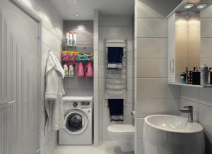 интерьер санузла со стиральной машиной