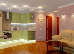 Дизайн современной гостиной совмещенной с кухней