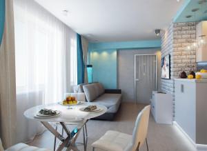 Интерьер гостиной с кухней