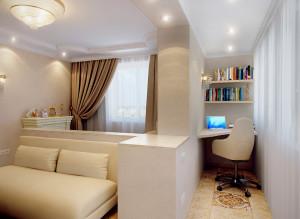 интерьер гостиной с компьютерным столом