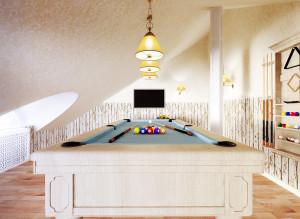 Фото идеи мансарды с биллиардным столом