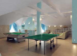 Дизайн современной мансарды с теннисным столом