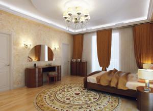 Дизайн спальни в коричнево бежевых тонах