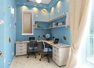 Интерьер рабочего места в детской комнате