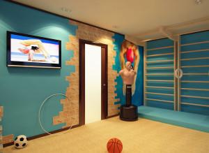 Интерьер спортзала в квартире