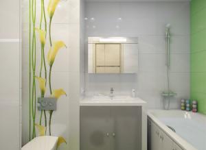 Современные идеи дизайна ванной комнаты со стиральной машиной в салатовом цвете фото