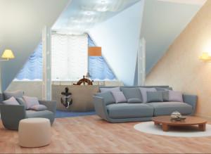 Фото идеи дизайна детской комнаты в морском стиле