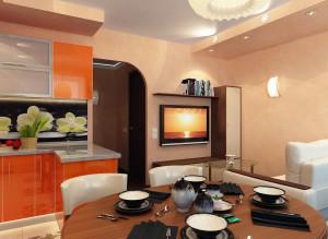 Стильный дизайн гостиной-кухни фото