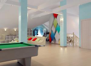 Дизайн мансарды с биллиардным столом