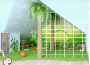 Дизайн детской комнаты в зеленых тонах