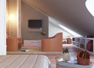 Дизайн спальни с ТВ-зоной